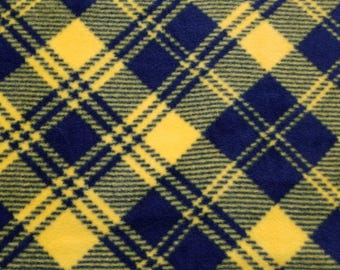Navy and Yellow Plaid Fleece Fabric (1 yard 16 inches)