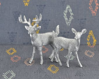 Deer Cake Topper Figurines - Silver