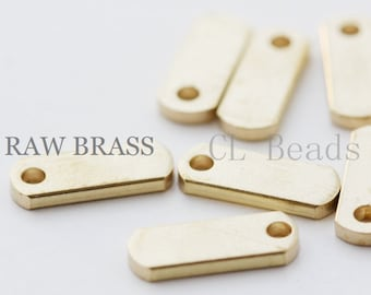 10pcs Raw Brass Tags - Rectangle 13x5x1.5mm (1799C-T-152)