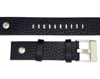 Genuine Leather Black Strap Band for Diesel Watches 20 mm. (D-1)