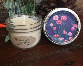 Lavender soy candle, Handmade candle, Lavender candle, soy candle, organic soy, cotton wick, mason jar soy candle, unique candle .