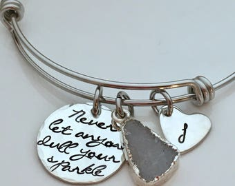 Never Let Anyone Dull Your Sparkle - Inspirational Gift - Gift for her Birthday - Best Friend Bracelet -BFF Gift - Druzy Bracelet - Initial