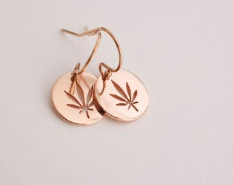 Rose gold cannabis  earrings  - cut out marijuana disc earrings - circle pot earrings - dangle  leaf earrings - weed earrings - 420 earrings
