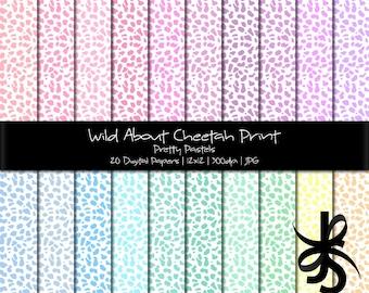 Digital Scrapbook Papers-Cheetah Print-Pretty Pastels-Animal Print-Baby Shower-Backgrounds-Wallpaper-Printable-Instant Download Clip Art