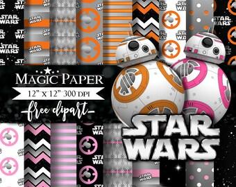 Star Wars BB8 Digital Paper, Paper Pack, Scrapbook, Clipart Clip Art