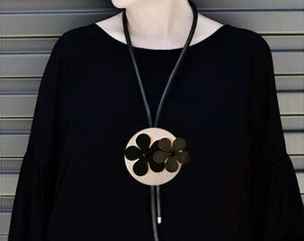 Large Pendant Necklace Monochrome Jewellery Long Rubber Necklace Statement Necklace Modern Jewellery gifts for women Funky Necklace