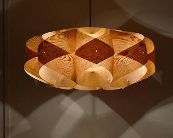 lighting wood. Pendant Light//Wood Orbit Light,Chinese Ash Wood Veneer//ceiling Lighting