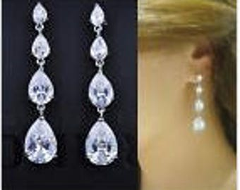 COLLEEN - Silver pierced Swarovski teardrop earrings