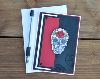 Gothic greetings card - Skull card, Fathers day card, Handmade card, Thank you card, Skull design, Skull greetings card, Alternative gift