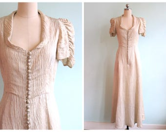 Vintage 1930s Champagne Textured Button Down Gown | Size Small