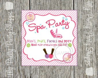 Spa / Make-up / Makeover Party Printable Tags / Labels / Favor Tags / Stickers / *INSTANT DOWNLOAD*