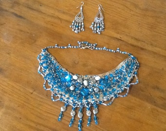 Silk necklace with sky blue beads and frshwater pearls