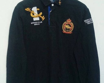 vintage POLO RALPH LAUREN Winter Cup Poloshirt longsleeve Stables Rugby Custom Fit xL / Team Polo/ Mercer club competition Polo Winter mmvii