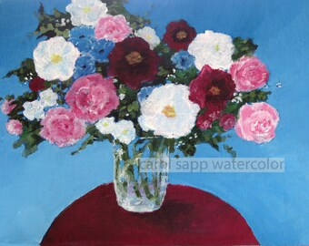 """bouquet original acrylic painting-6"""" x 8""""-ready to frame or display on easel-carol sapp-flower painting-flower art-bouquet in vase painting"""