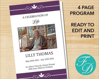 Funeral program template, order of service, memorial programs memorial service (ELEGANT PLUM)