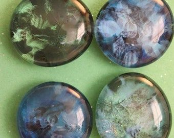 Blue and Green Camouflage painted large glass gem magnets