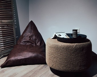 Leather Bean Bag in Distressed Brown / Bean Bag Chair / Bean Bag Cover / Adult Bean Bag / Leather Pillow/Floor Pillow / Leather Pouf /