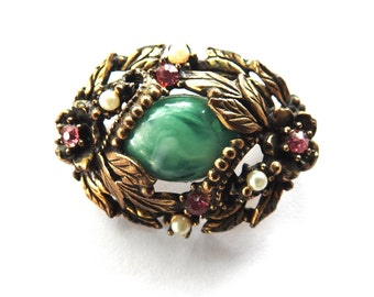 Mid Century Art Glass Faux Pearl Rhinestone Gold Tone Brooch with Leaves