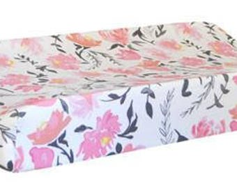 Changing Pad Cover | Floral Rosewater in Coral