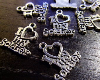 Destash (7) I Love My Soldier Heart Charms - words, silver plate for pendants, jewelry making, crafts, scrapbooking