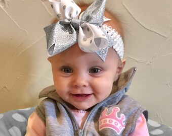 Bow Crown, Silver Sparkles (Hair Bow Attached by Band, Newborn-3 Yrs)