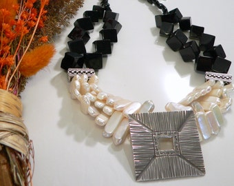 Freshwater Biwa Pearls and Black Agate with Bali/Sterling Silver Findings.