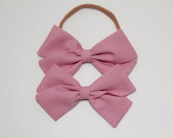 Fabric Bow for Baby Girls and Toddlers - Nylon Headband or Clip - Dusty Rose
