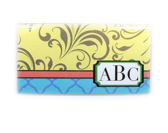 Personalized checkbook cover - Majolica Swirl - monogram check book holder - lemon, aqua, green - bridesmaid's gifts