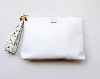 Leather wedding clutch, White wristlet clutch with luxurious wrist strap