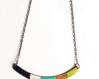 Crescent Enamel Necklace- Reversible