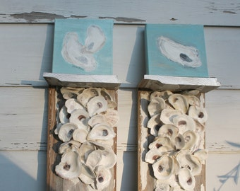 Oyster Shell Wall Bracket Pair/Reclaimed Wood Wall Shelf/Beach House Wall Decor