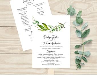 Instant Download Wedding Program, Greenery Wedding Program Fans, Wedding Program Template, Printable Wedding Program, Personalized PDF L3