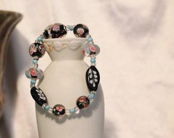 Pink Floral Lampwork Stretch Bracelet