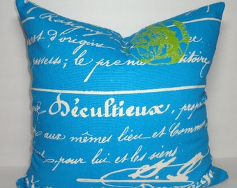 INVENTORY REDUCTION Cobalt Blue and Lime French Script Pillow Penmanship Decorative Throw Pillow Cover Size 18x18