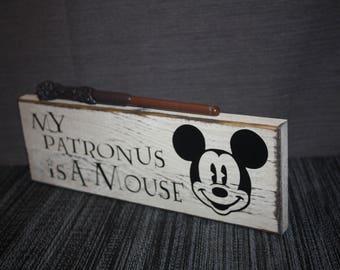 Harry Potter / Disney Sign –My Patronus is a Mouse – Harry Potter & Disney Wood Home Decor / Sign – Mickey Mouse – Expecto Patronum