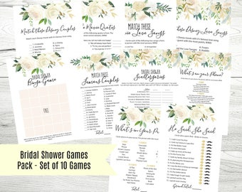 Floral Printable Bridal Shower Games Pack, Set of 10, Instant Download, 5x7, Printable Shower Game Cards, WLP355