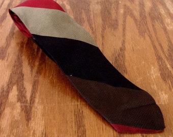 "vtg 50s Golden Arrow Striped Red/Black Silk Skinny Tie Rockabilly 54"" 2.25"""