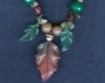 Fancy Jasper Carved Leaf Necklace