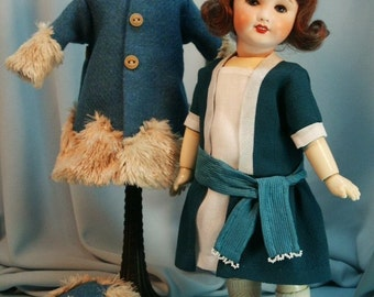 Bleuette pattern for doll clothing JADE and FRIMAS - Gautier Languereau styles from 1921\/1922 Dress, Coat and Hat