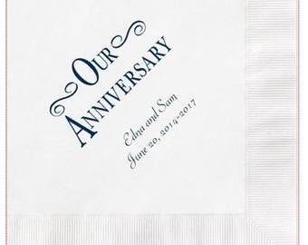 Our Anniversary Napkins Personalized Set of 100 Napkins Anniversary Party Supplies