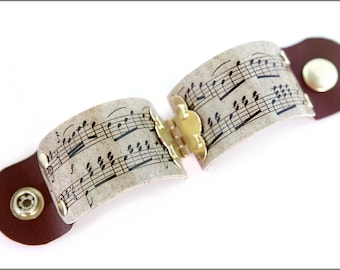 Music Gifts, Sheet Music Cuff, Music Notes Cuff, Music Jewelry, Gifts for Musicians, Sheet Music, Wide Cuff, Anniversary Gift