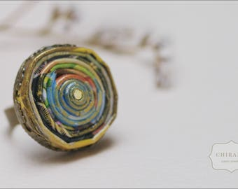 One-of-a-kind Up-cycled Paper Ring