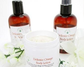 Organic body lotion, natural lotion, moisturizer, for organic skincare, Delicate Orange 4 oz, lotion