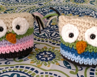 Owl Pouch, Owl Amigurumi, Hand Crocheted Small Pouch, Gift Pouch/Bag, Tooth Fairy Holder, Country Goods