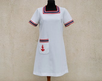 Vintage Sailor Dress White Dress Marine  Dress Vintage 1970s  A Line Dress Marine Dress Retro Sailor Dress Medium Size