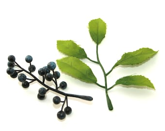 10 Navy Blue Berry Sprigs and 10 Leaf Stems - Odd Floral - 20 Piece