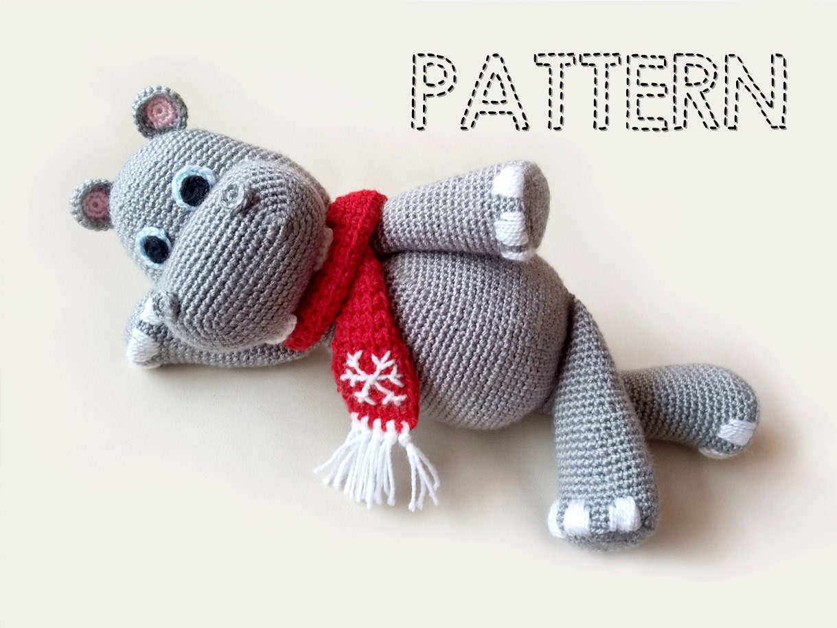 Amigurumi Christmas Patterns : Sale christmas crochet hippo patterns hippopotamus crochet