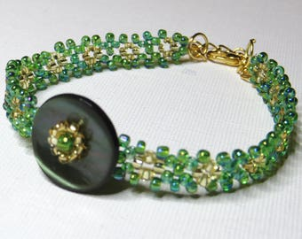 Bracelet Green Pearl and seed beads - #243