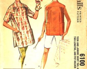 Shirt Tail Apron w/ Large Pockets & Cat Potholer Bust 33 McCalls 6100 Vintage Sewing Pattern Size 13