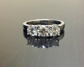 14K White Gold Three Stone Diamond Engagement Ring - 14K Gold Diamond Wedding Ring - Art Deco Diamond Three Stone Ring - 14K Diamond Ring